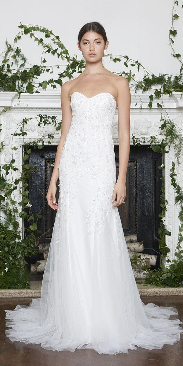 monique lhuillier wedding dresses 2018 sheath sweetheart nckline with floral embroidered