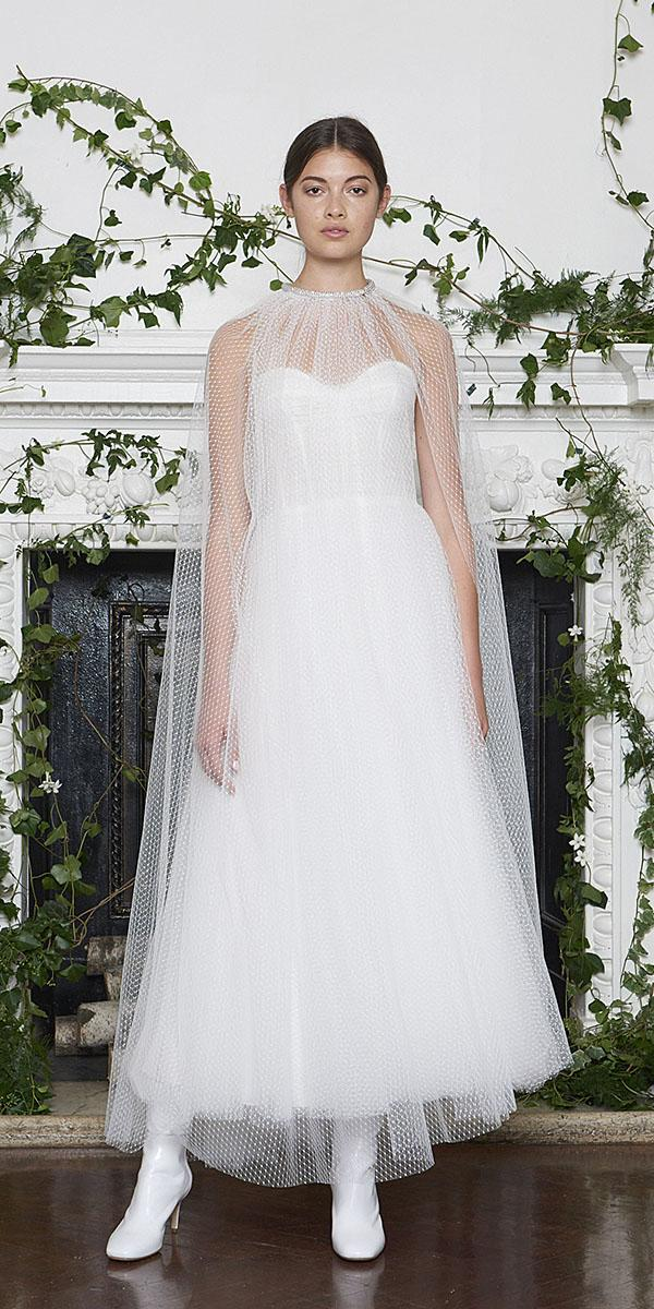monique lhuillier wedding dresses 2018 sheath with illusion cape high neck tulle