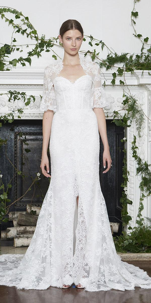 monique lhuillier wedding dresses 2018 sweetheart with cape lace embellishment