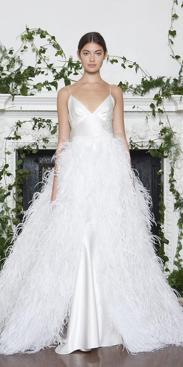 monique lhuillier wedding dresses 2018 with spaghetti straps feather accents