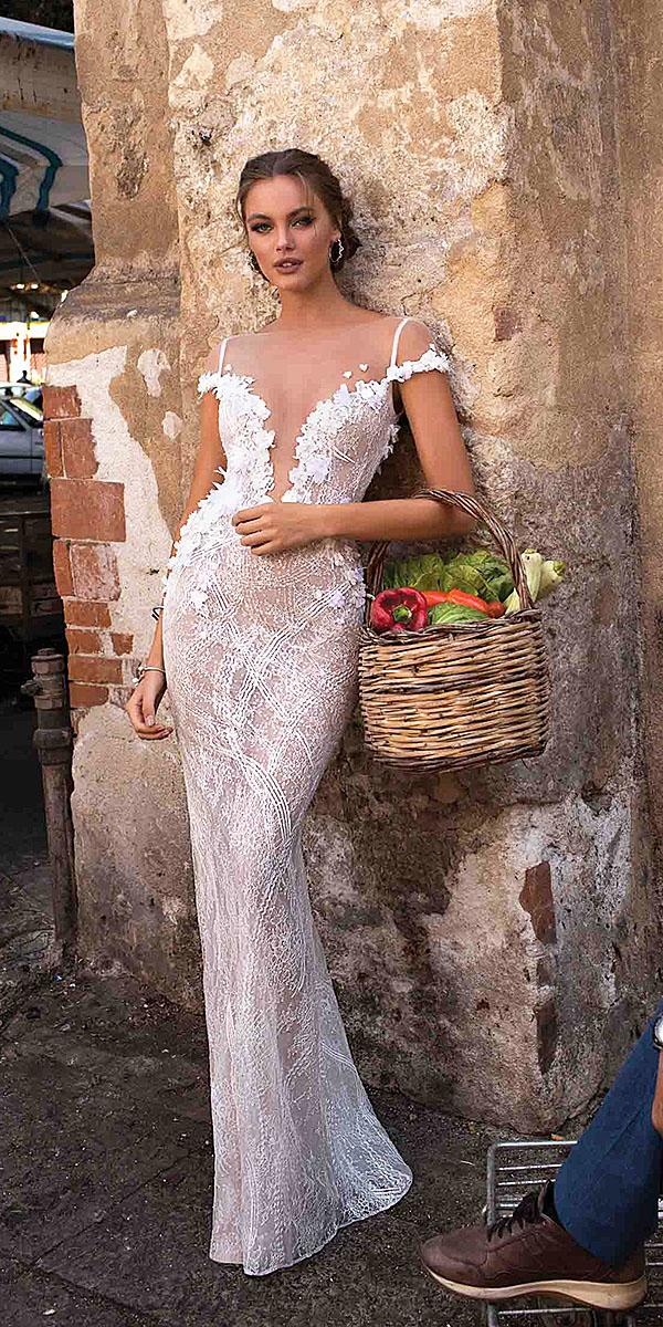 muse by berta wedding dresses sheath deep v neck illusion sweeetheart floral details romantic 2018