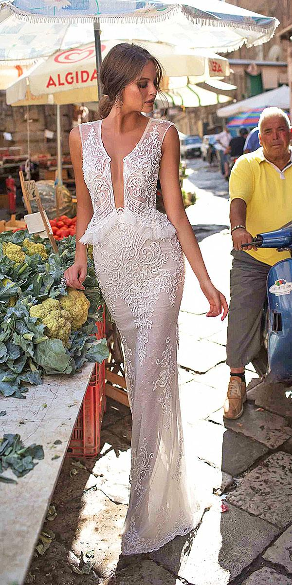 muse by berta wedding dresses sheath lace embellishment 2018