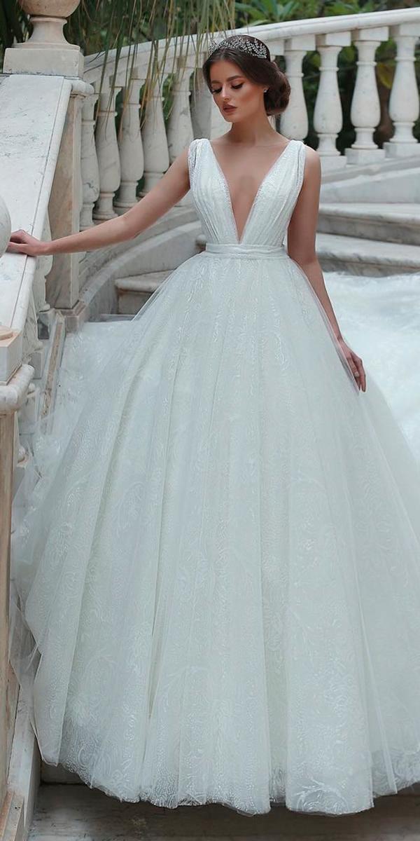 princess simple deep v neckline sleeveless ball gown wedding dresses esposa group
