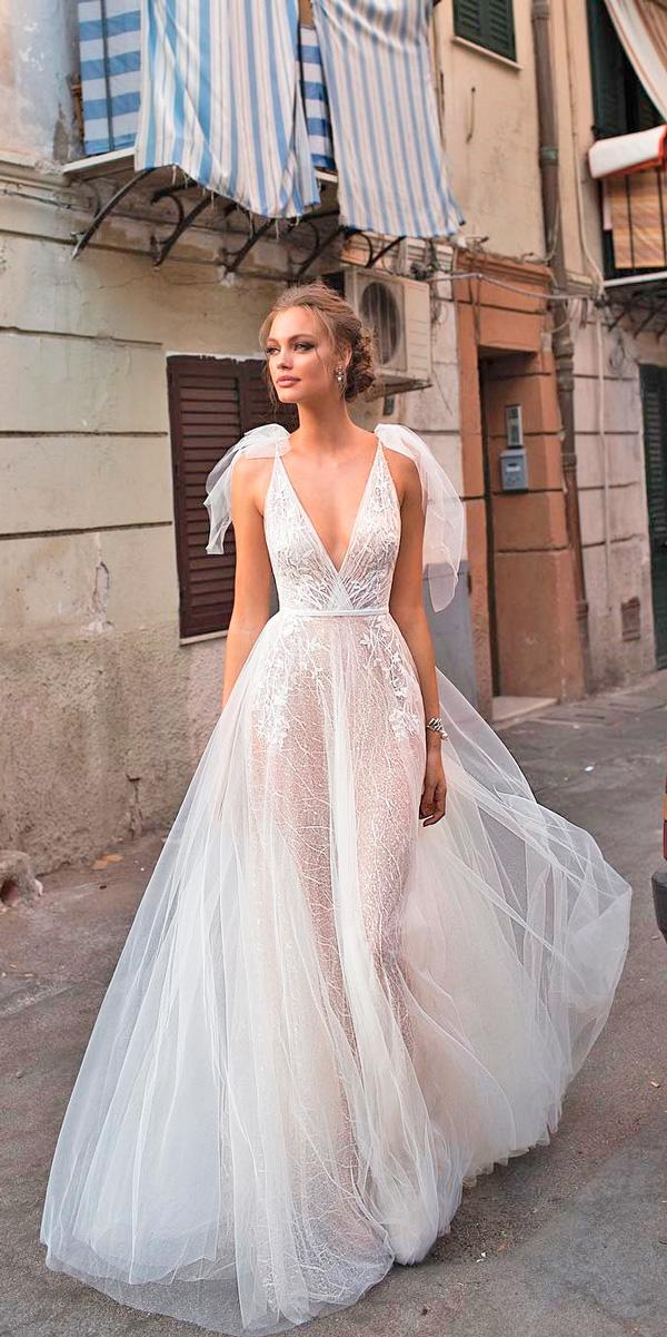 princess wedding dresses a line blush deep v neckline flowy berta bridal