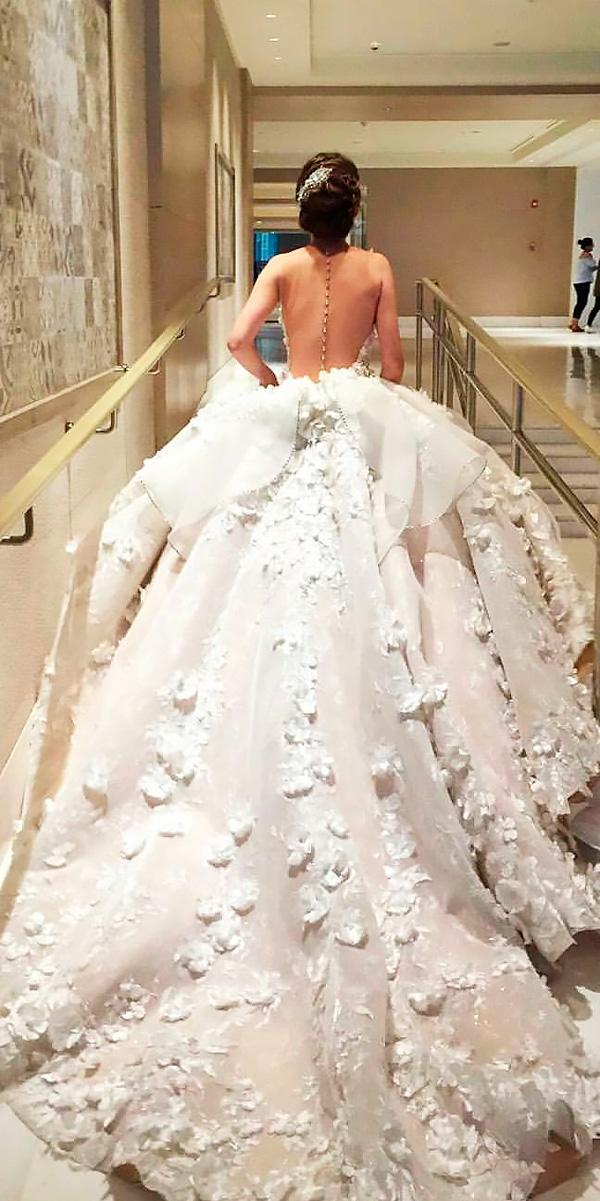 princess wedding dresses ball gown floral low back mak tumang