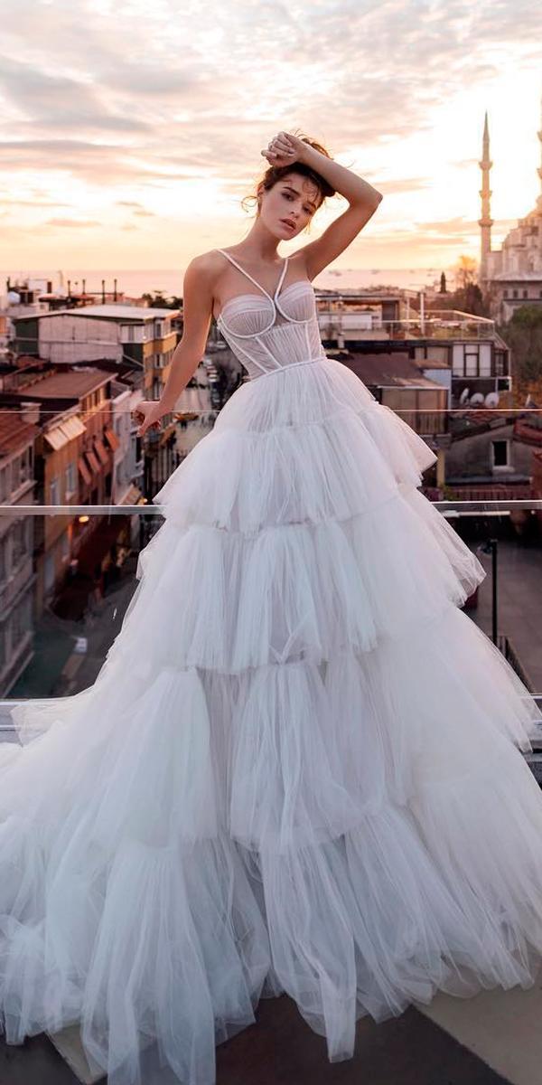 princess wedding dresses ball gown layered skirt sweetheart neckline with halter straps blush blammo biamo
