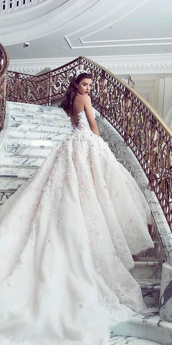 princess wedding dresses bling ball gown strapless lace with train jacykay official