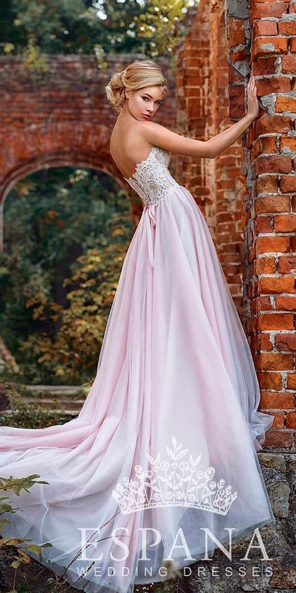 princess wedding dresses blush a line lace strapless neckline espana sposa