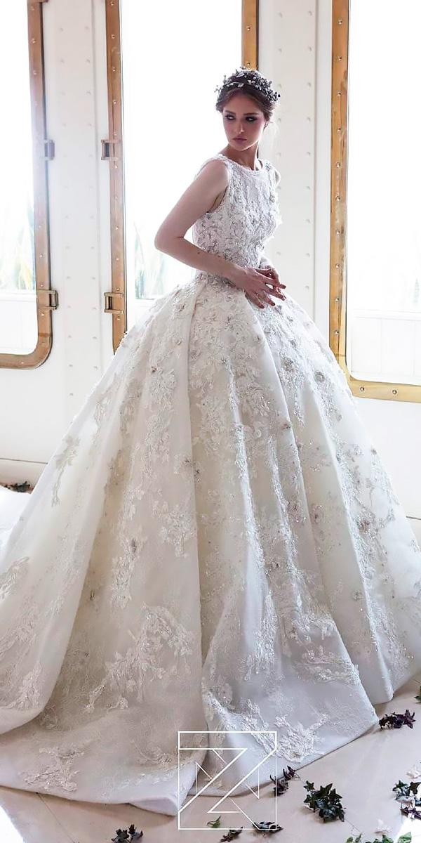 princess wedding dresses lace ball gown sleeveless ziad nakad