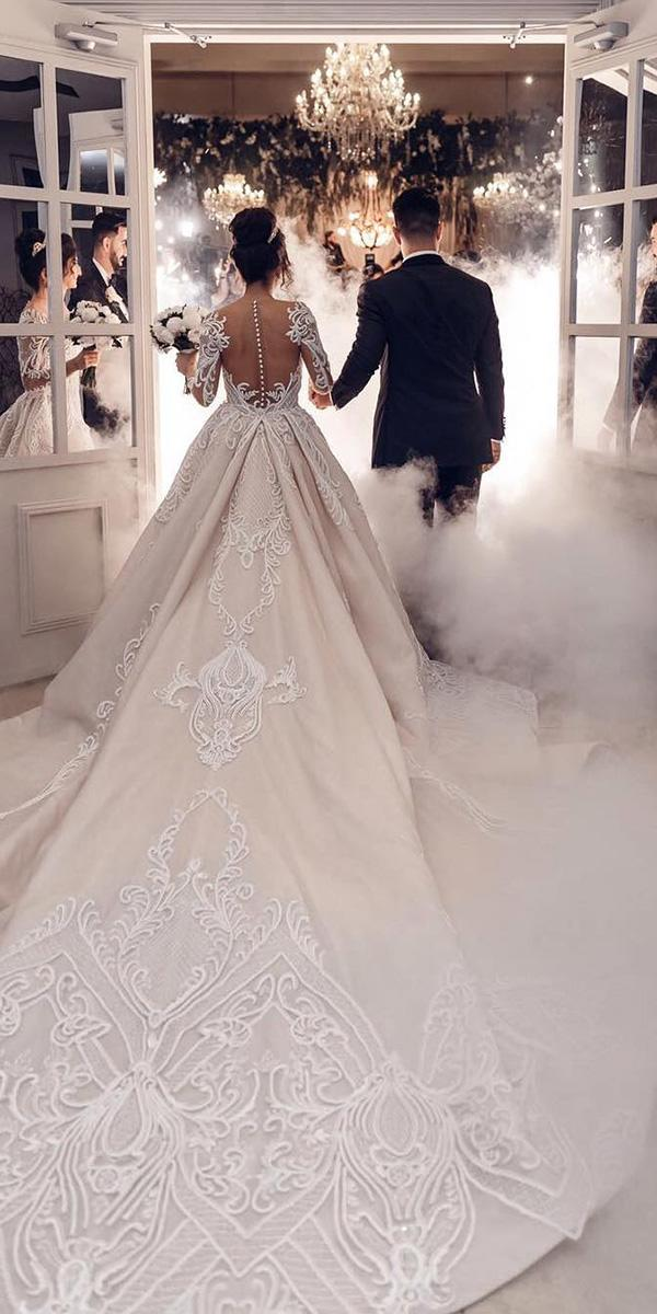 princess wedding dresses with long illusion sleeves buttons train georgee lsissa