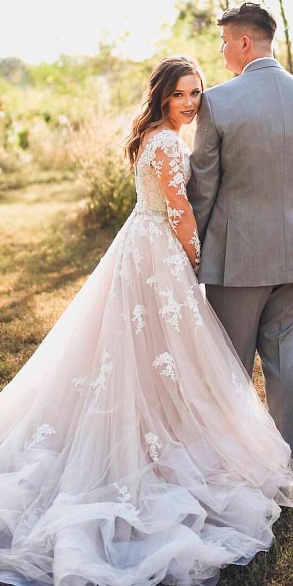 revealing-wedding-dresses-a-line-blush-lace-illusion ...