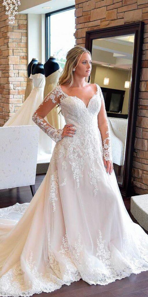 revealing-wedding-dresses-a line illusion lace long sleeves sweetheart essense of australia