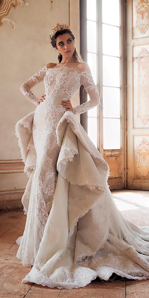revealing wedding dresses modern off the shoulder lace long sleeves overskirt jaton couture