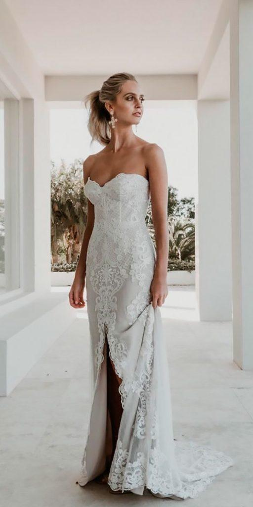 revealing wedding dresses lace strapless sweetheart high slit beach jane hill