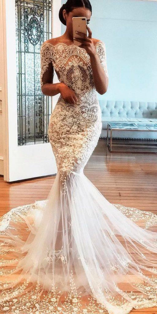 revealing wedding dresses mermaid lace off the shoulder with sleeves nektaria