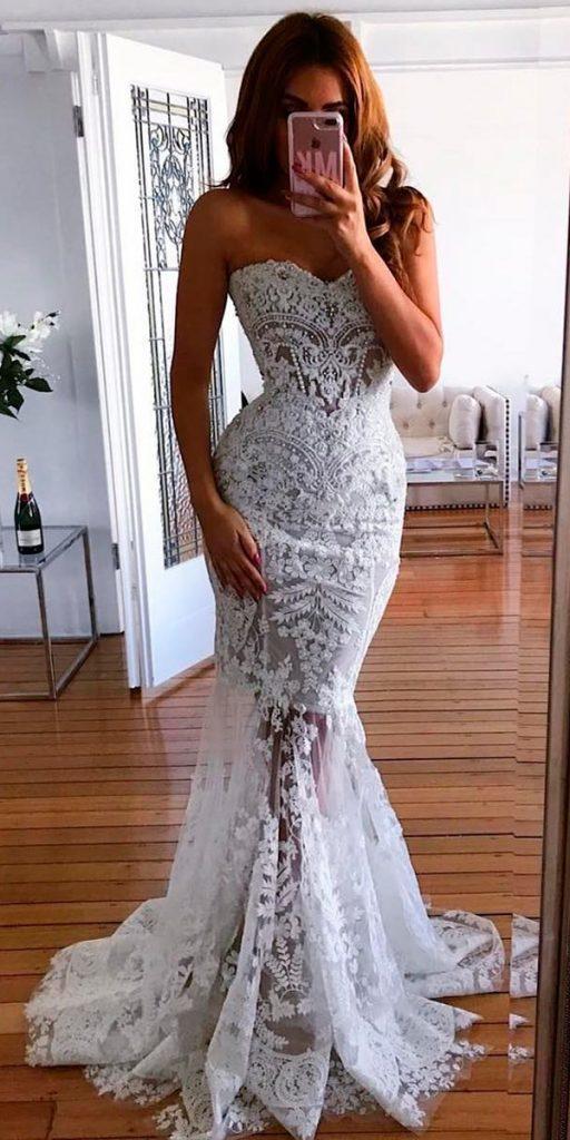 revealing wedding dresses mermaid lace strapless sweetheart neckline lace nektaria