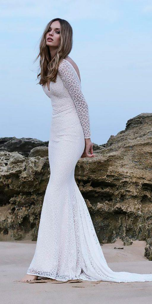 revealing wedding dresses mermaid lace v neck long sleeves open back with train mariana hardwick