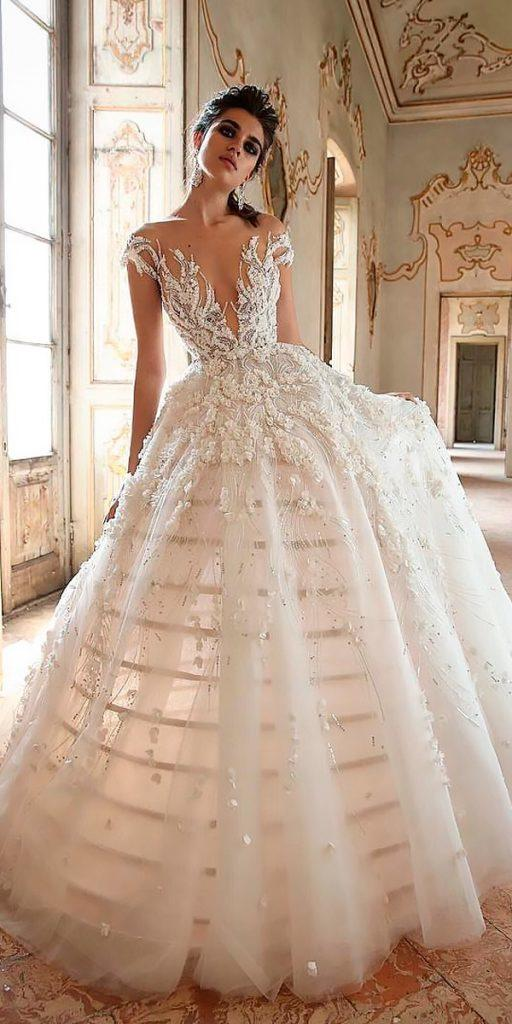 revealing wedding dresses modern ball gown v neckline cap sleeves jaton couture