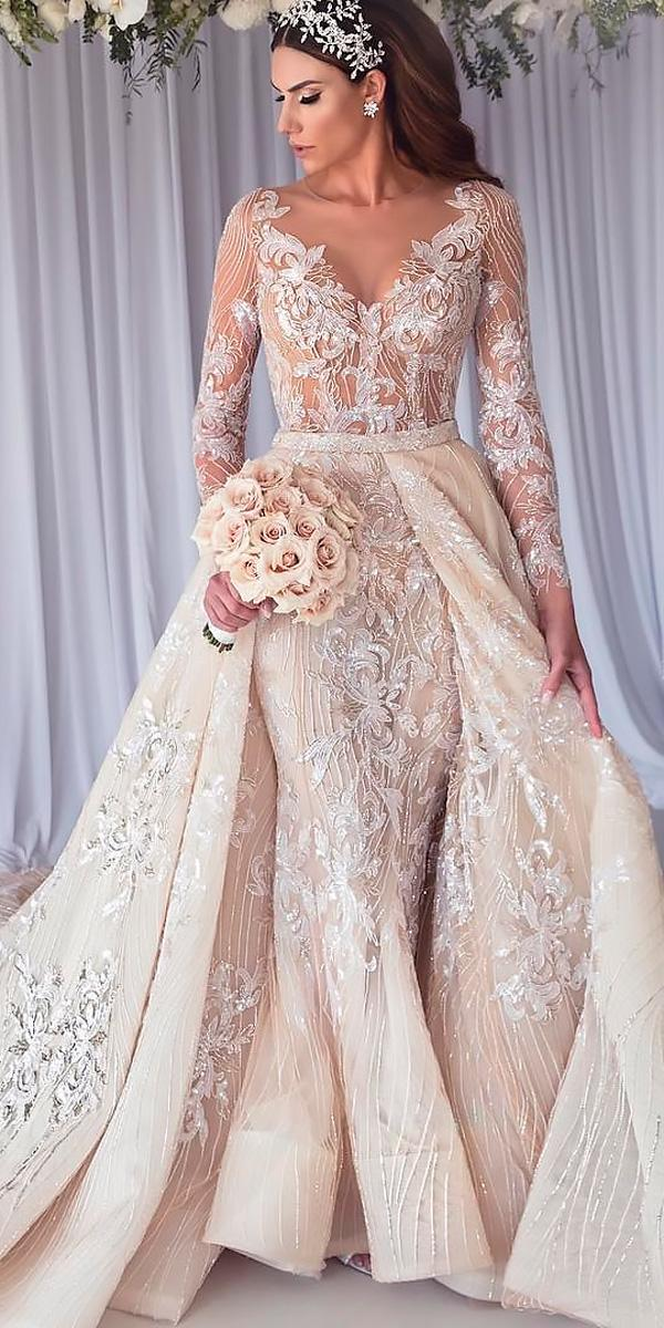 Revealing wedding dresses overskirt lace v neckline long for Steven khalil wedding dresses cost
