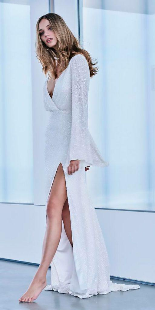 revealing wedding dresses sheath high slit v neckline long sleeves simple mariana hardwick