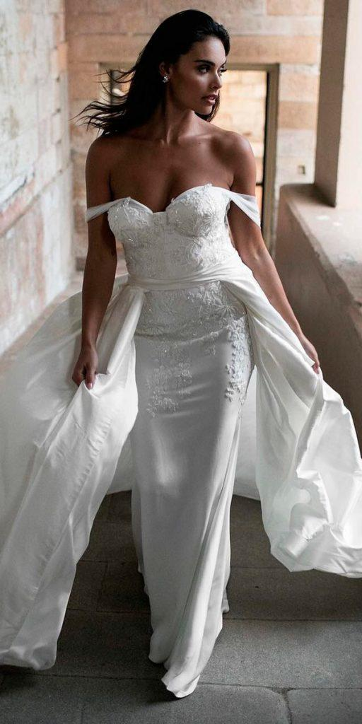 revealing sheath off the shoulder wedding dresses with lace details and over skirt moira hughes couture