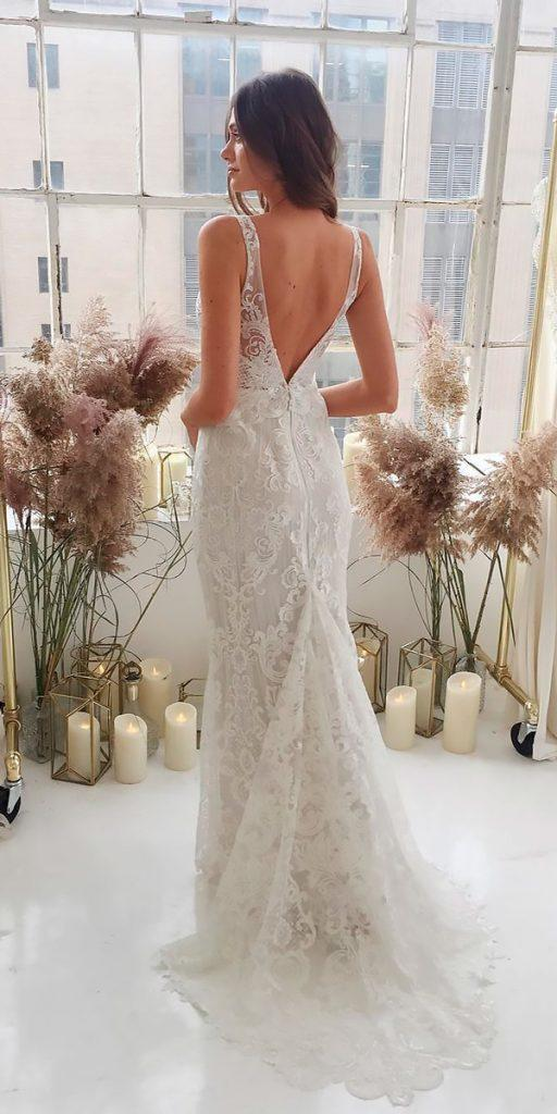 revealing wedding dresses sheath sleeveless lace open back with straps anna campbell