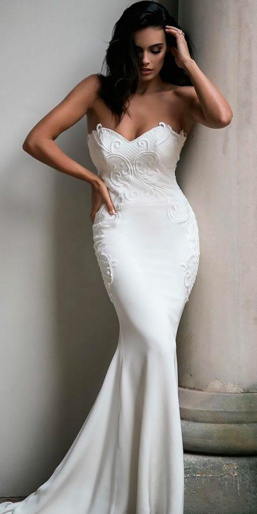 revealing wedding dresses sheath strapless sweetheart lace moira hughes