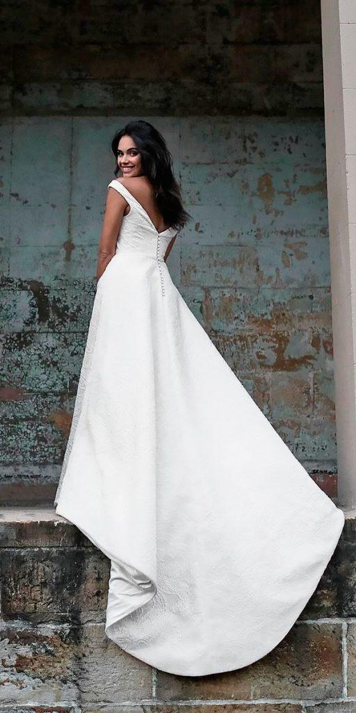 revealing wedding dresses simple open back a line cap sleeves moira hughes