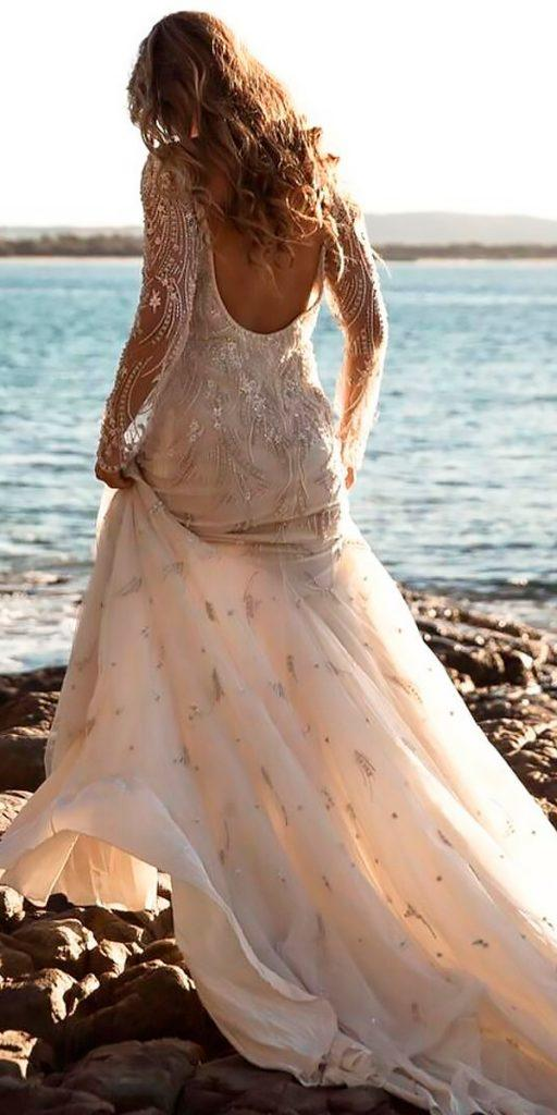 revealing wedding dresses straight open back long sleeves modern bo luca 512x1024 - simple beach wedding dress