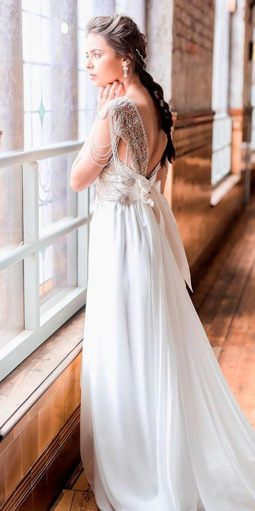 revealing wedding dresses straight sleeveless heavily embroidered bodice open back anna campbell