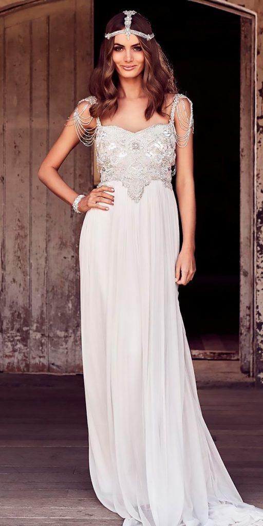 revealing wedding dresses straight sleeveless heavily embroidered bodice sweetheart neck anna campbell
