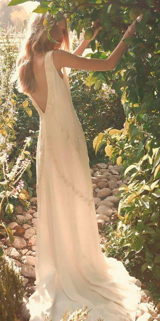 revealing wedding dresses beach straight sleeveless low back modern bo luca