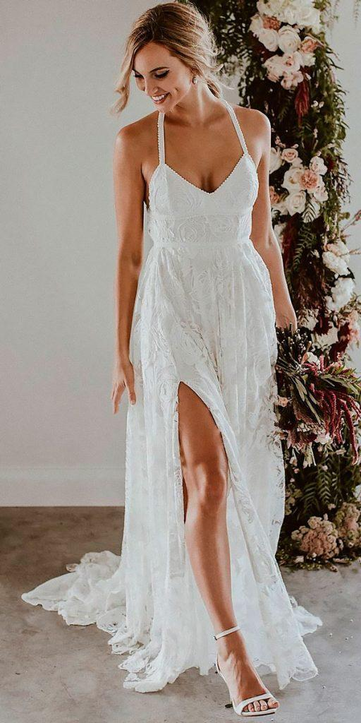 revealing wedding dresses straight sweetheart high slit with straps lace boho grace loves lace