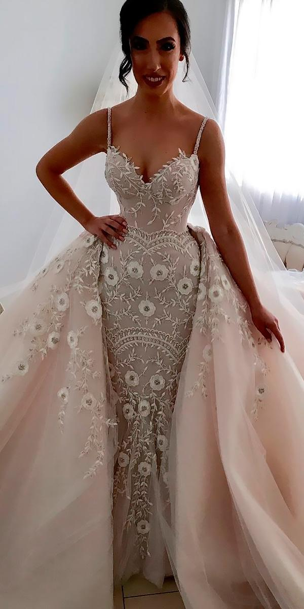 revealing wedding dresses sweetheart lace with straps overskirt steven khalil