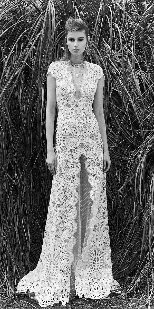 sheath with cap sleeves full lace deep v neckline christos costarellos wedding dresses 2018