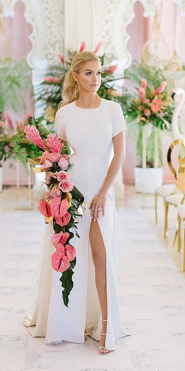 sheath with cap sleeves simple mango studios destination wedding dresses