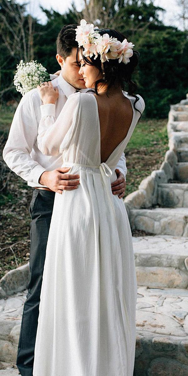 simple wedding dresses with long sleeves a line v back elegant janay marie