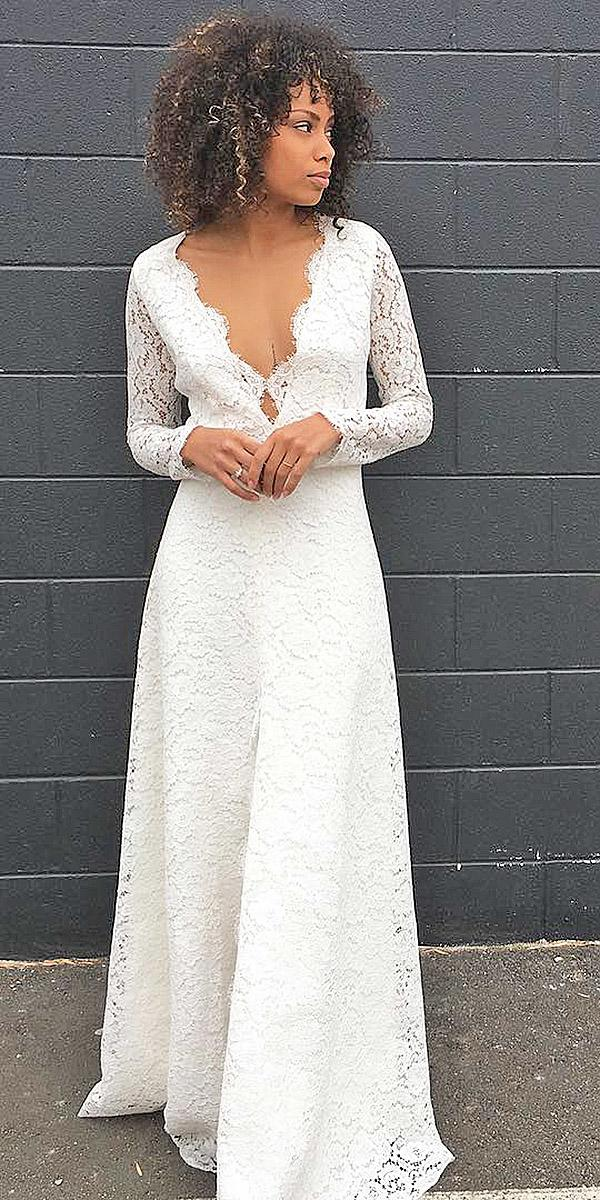 simple wedding dresses with sleeves a line deep v neckline full lace sarah seven