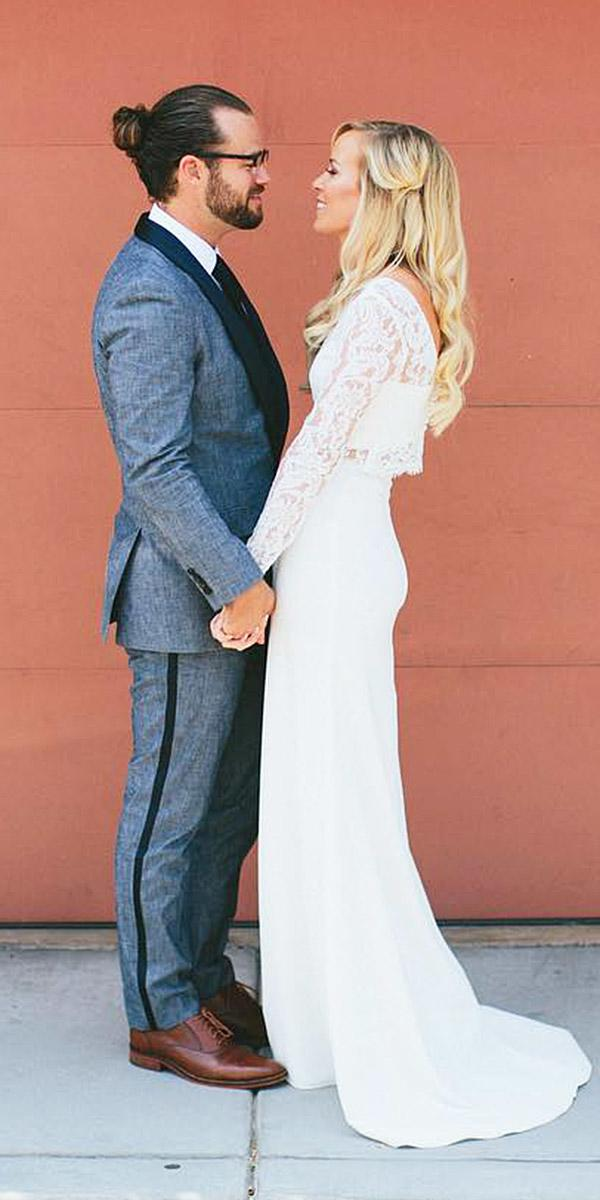 simple wedding dresses with sleeves lace top satin skirt stoffer photography