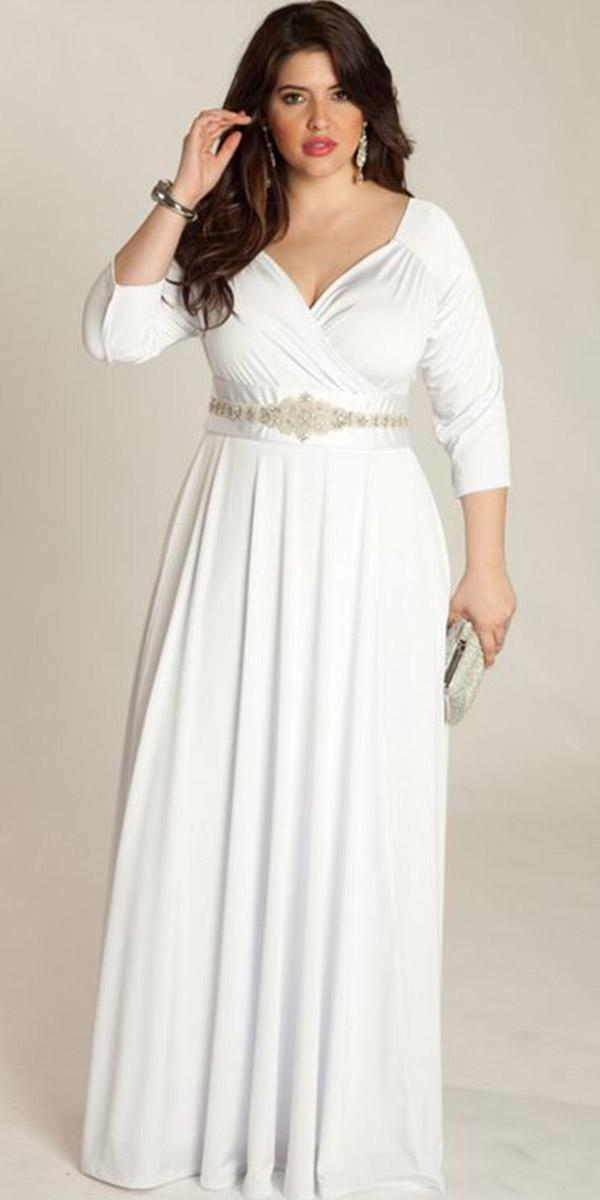 simple wedding dresses with sleeves sheath plus size igigi