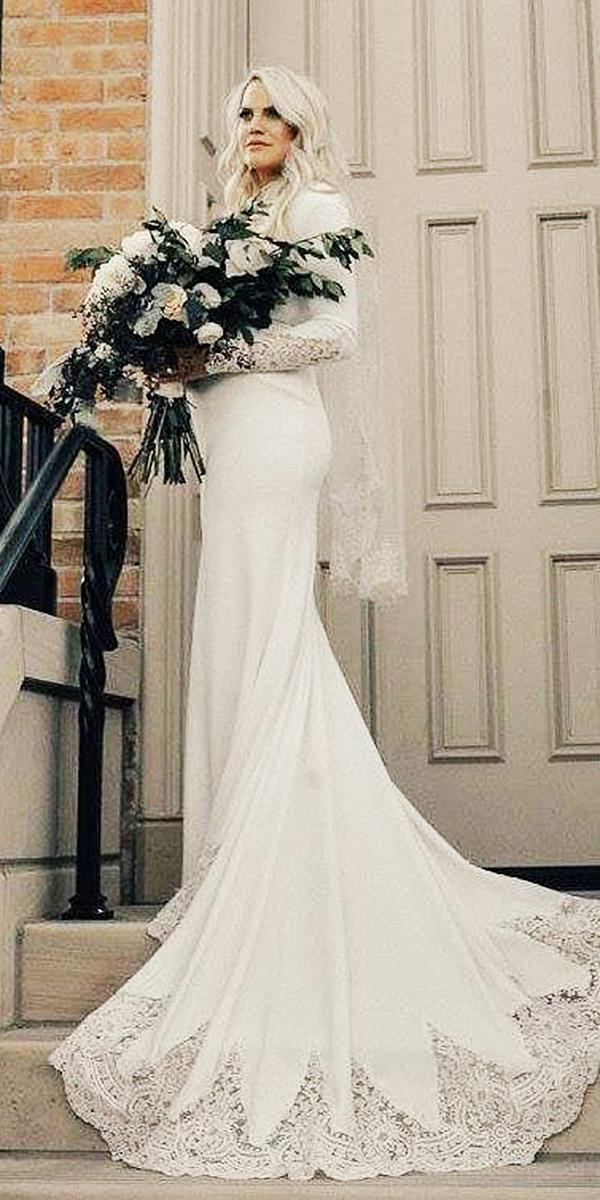 simple wedding dresses with sleeves sheath with lace train sweetheart bridal