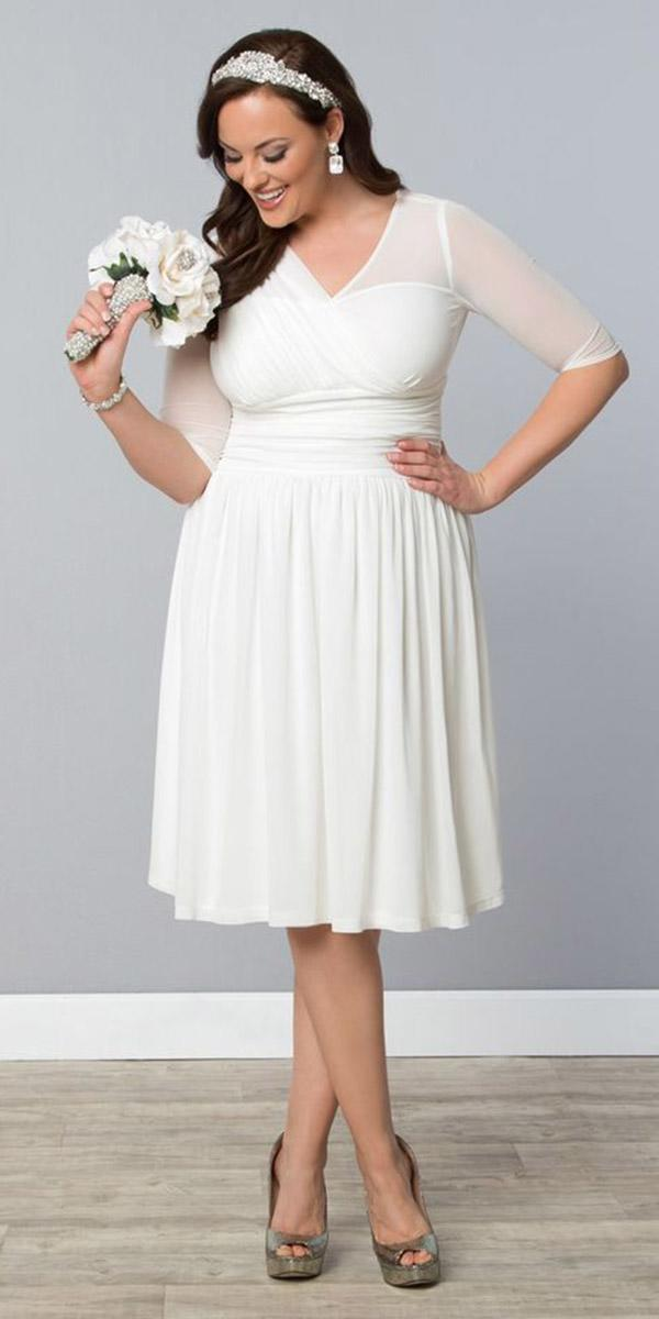 simple wedding dresses with sleeves short plus size kiyonna