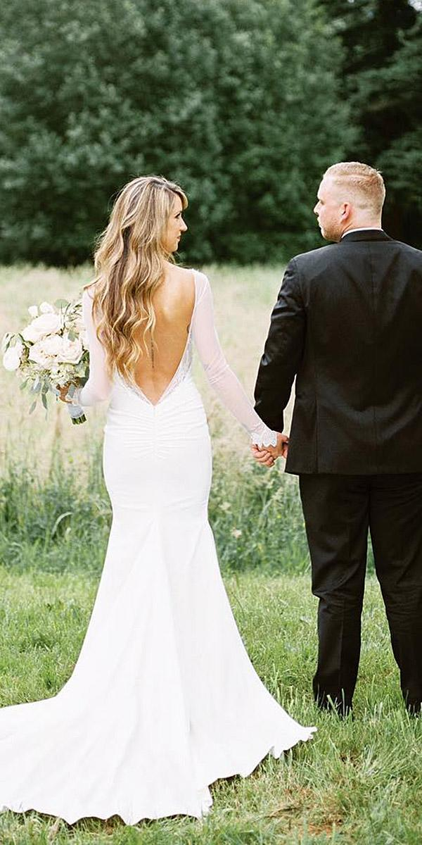 simple wedding dresses with sleeves v back with train katie may