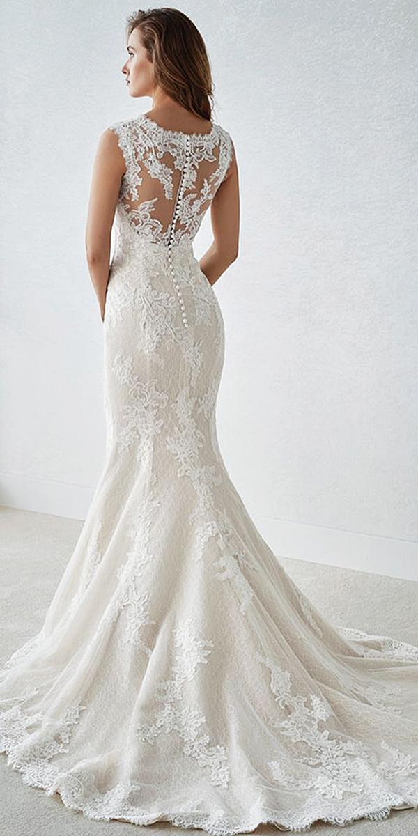 st patrick wedding dresses mermaid illusion lace back with buttons
