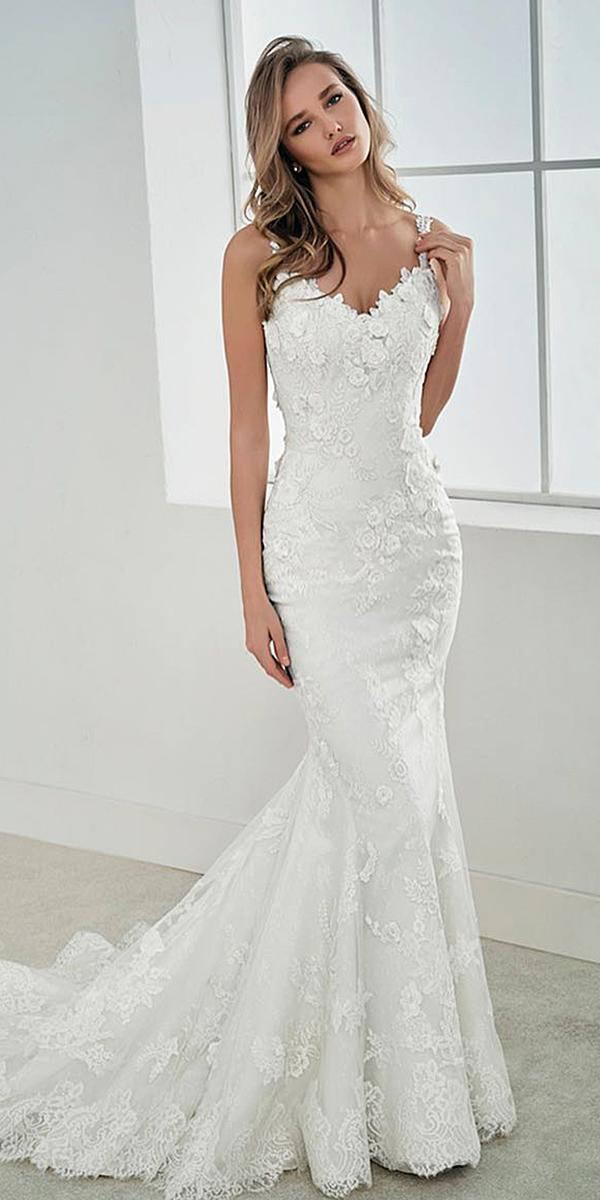 st patrick wedding dresses mermaid with spaghetti straps-sweetheart lace embellishment