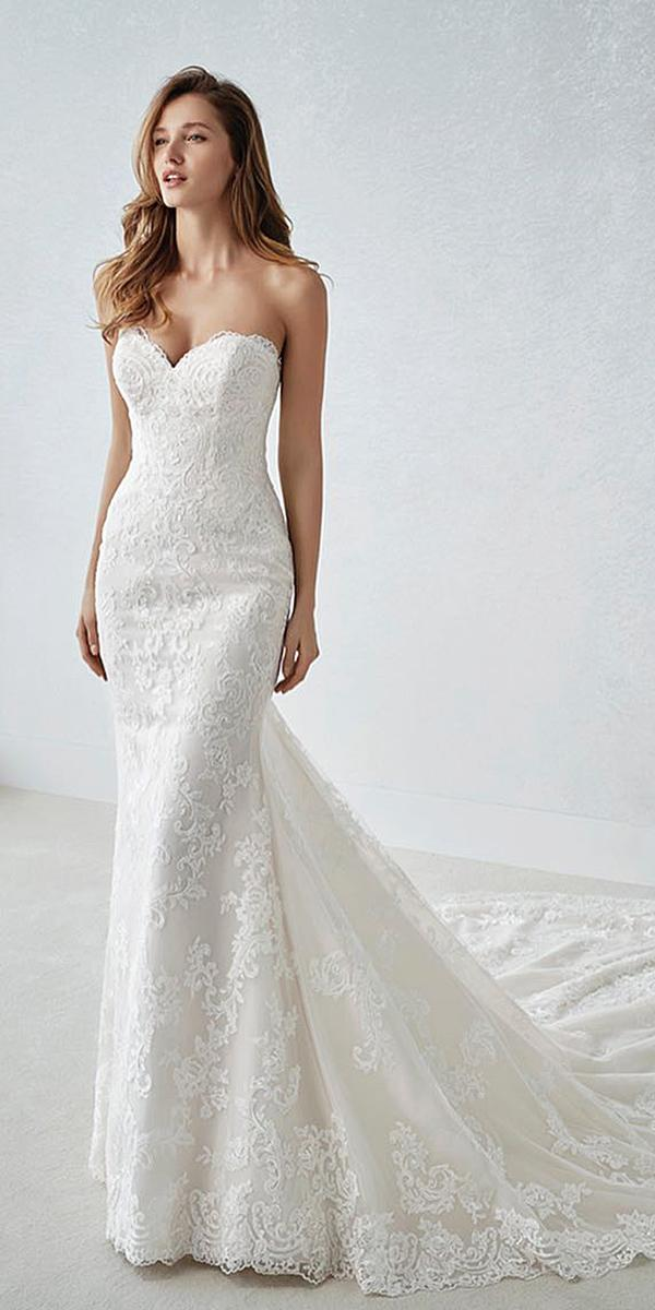 st patrick wedding dresses sheath sweetheart with train 2018