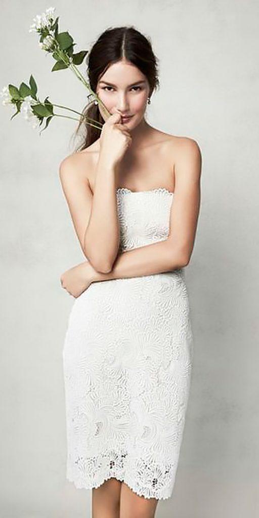 strapless lace short wedding dresses monique lhullier