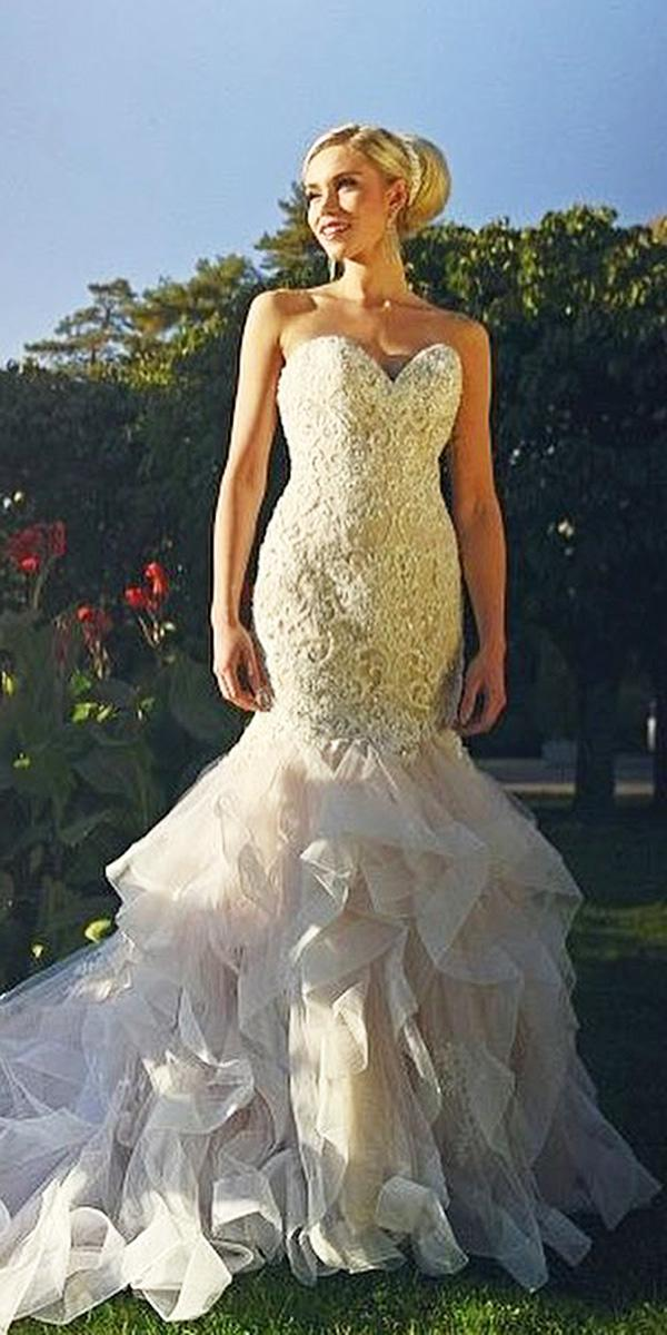 sweetheart mermaid wedding dresses bling lace embellishment tulle skirt mori lee
