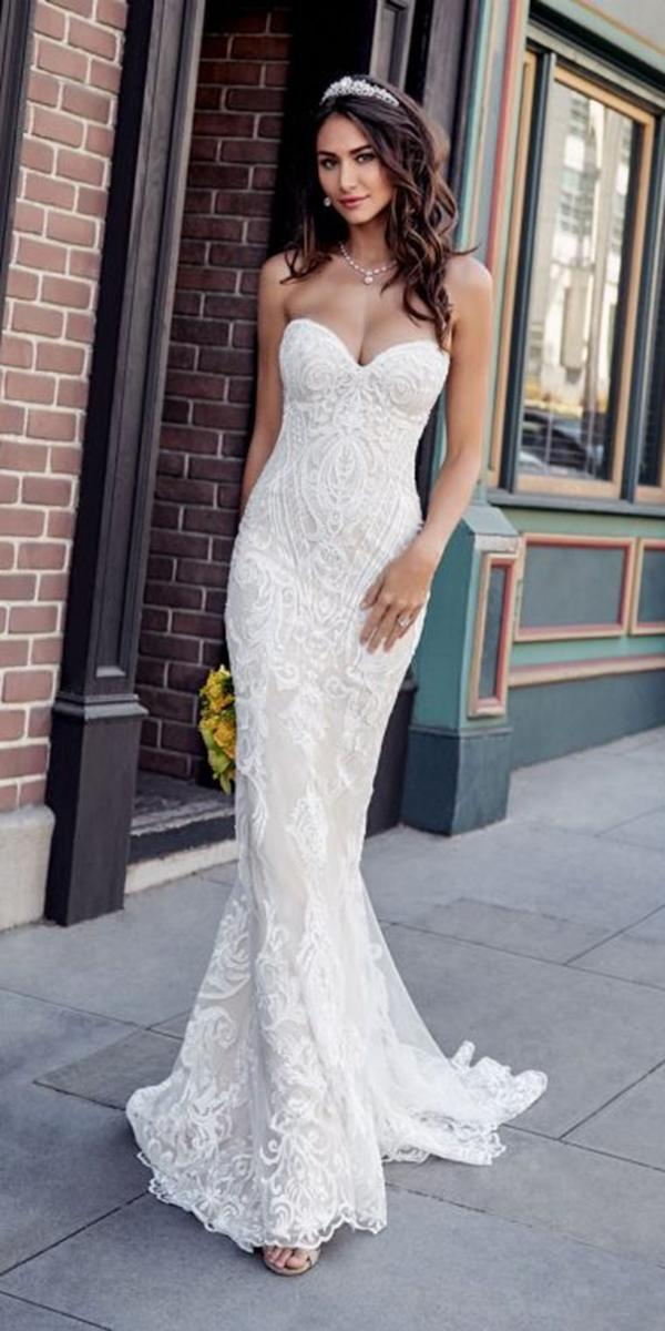 sweetheart mermaid wedding dresses for beach strapless lace kitty chen couture