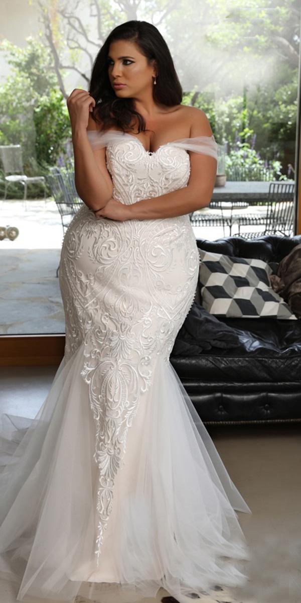 sweetheart mermaid wedding dresses for plus size lace studio levana